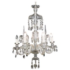 Regency Style Cut Glass Nine Branch Chandelier