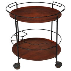 Swedish Midcentury Serving Cart with Bottle Holder and Teak Trays