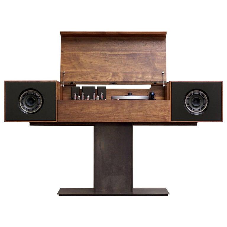 Modern Record Console Jet Black Speaker Front