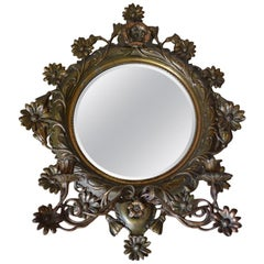 Antique Art Nouveau Mirror, Iron Cast Bronze Patina, 1900