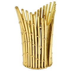 French 1980s Brass Umbrella Stand/Waste Paper Basket by Isabelle Faure