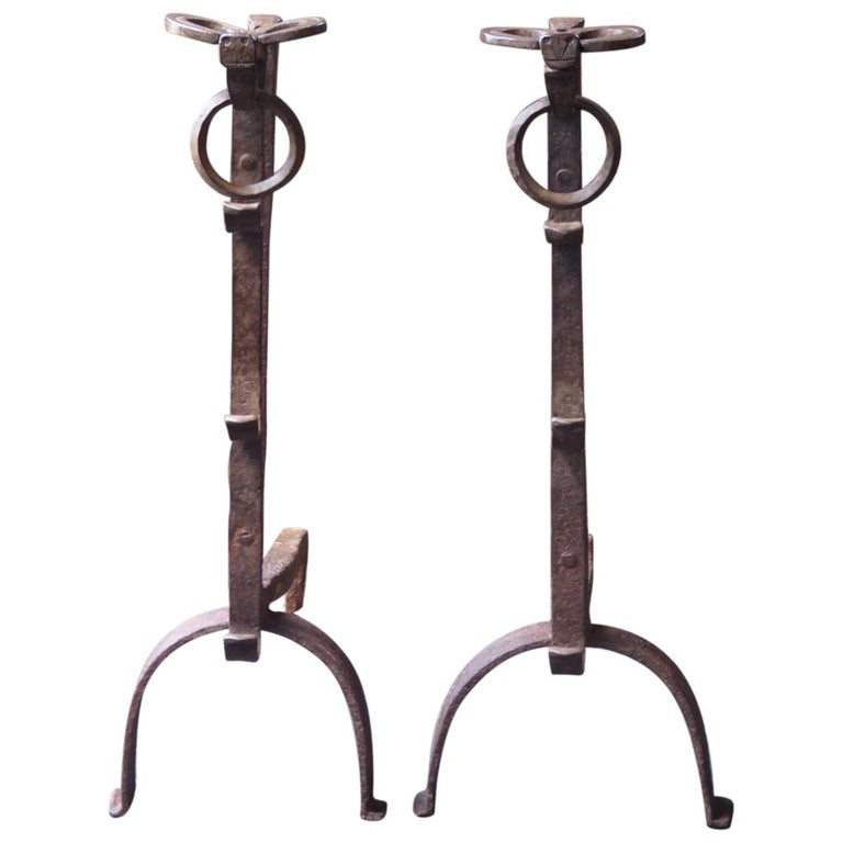 17th Century French Gothic Andirons or Firedogs For Sale