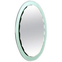 Italian Mintgreen Crystal Wall Mirror with Serrated Edges by Cristal Art, 1960s