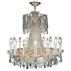 20th Century Sixteen-Branch Cut-Glass Chandelier in the Neoclassical Style