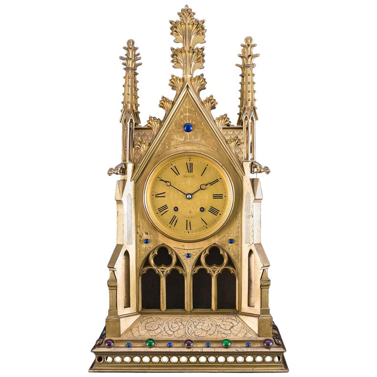 Large 19th Century French Gothic Revival Mantel Clock