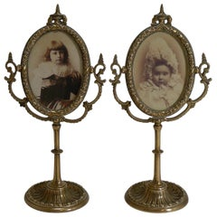 Pair of Antique English Brass Swing Photograph Frames, circa 1880