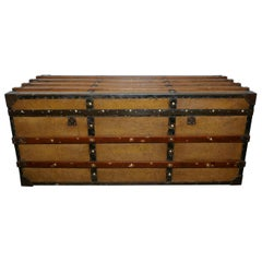 Superb Quality Vintage Canvas Travel Chest or Steamer Trunk