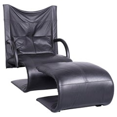 Ligne Roset Designer Leather Leather Armchair Black One-Seat Chair Footstool