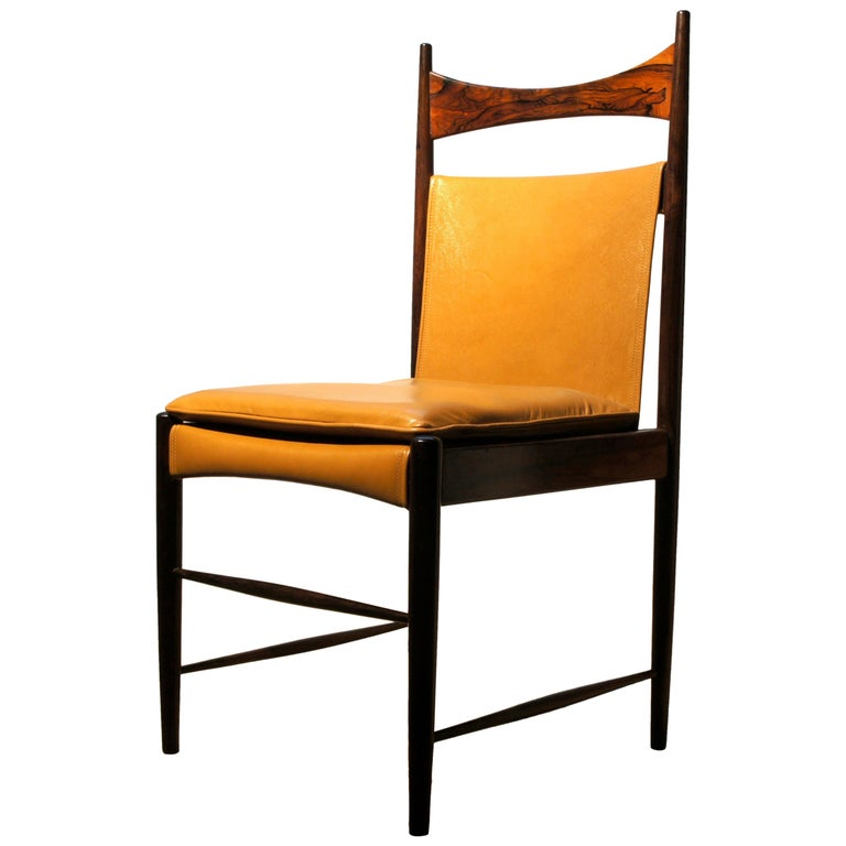"""Sergio Rodrigues, Set of Ten """"Cantu"""" Chairs Made of Solid Rosewood"""
