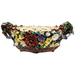 19th Century French Hand-Painted Oval Barbotine Jardinière with Flowers