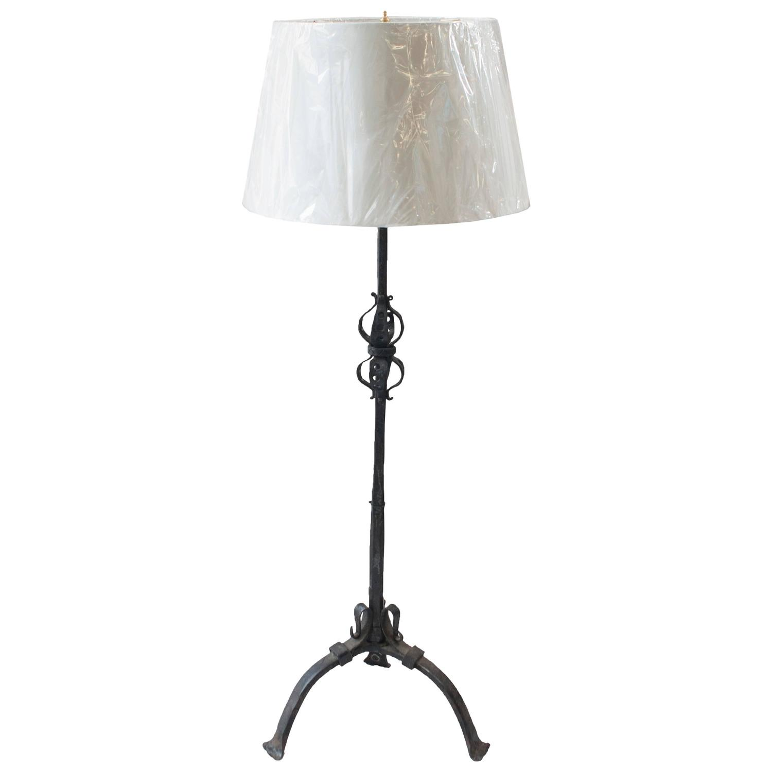 black wrought iron floor lamp for sale at 1stdibs. Black Bedroom Furniture Sets. Home Design Ideas