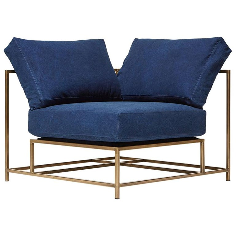 Indigo Canvas and Antique Brass Corner Chair For Sale - Indigo Canvas And Antique Brass Corner Chair For Sale At 1stdibs