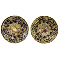 Pair of Royal Worcester Cabinet Plates by Richard Sebright, 1918