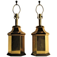 Classic Hollywood Regency Brass Ginger Jar Lamps