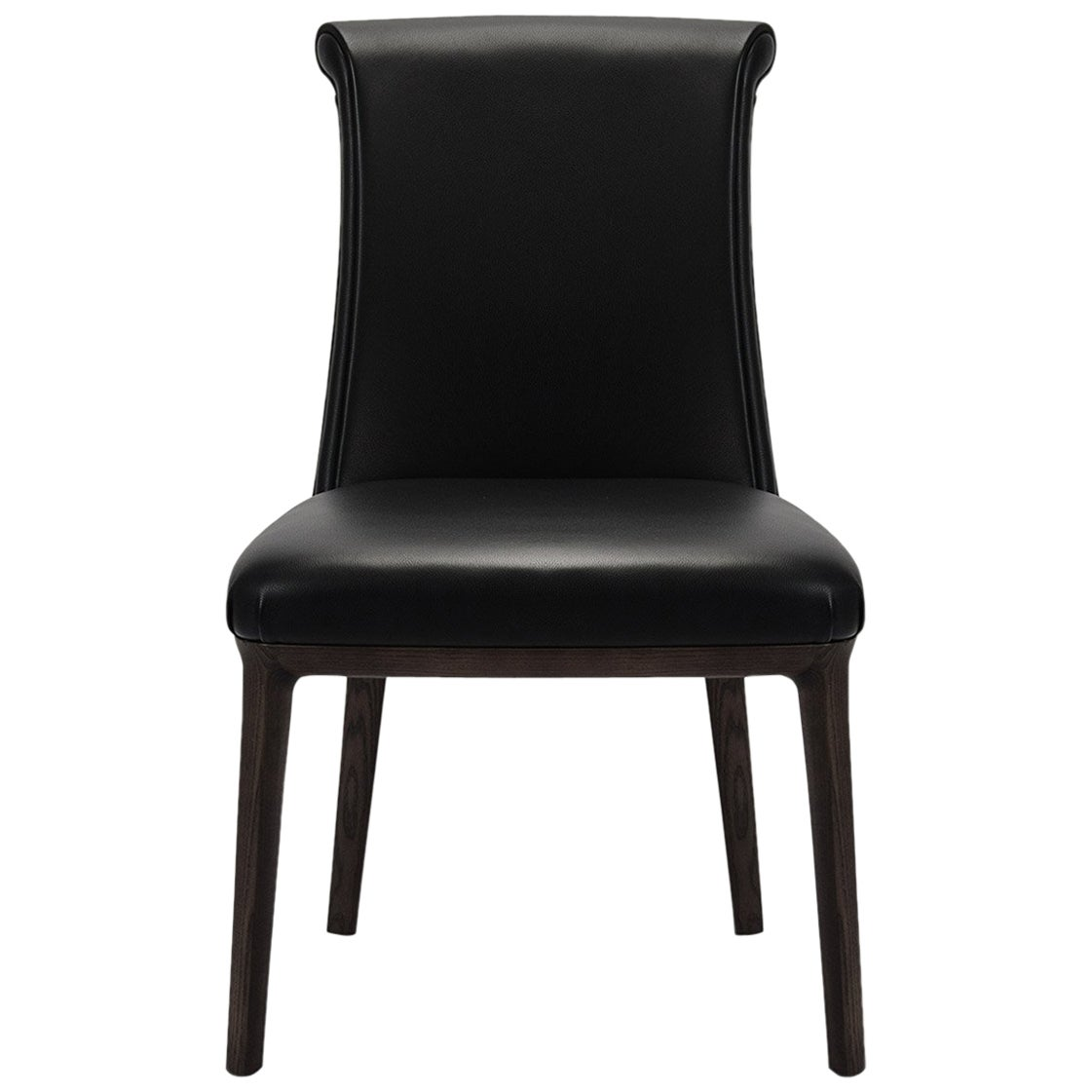 Black Leather Diva Dining Chair, Poltrona Frau