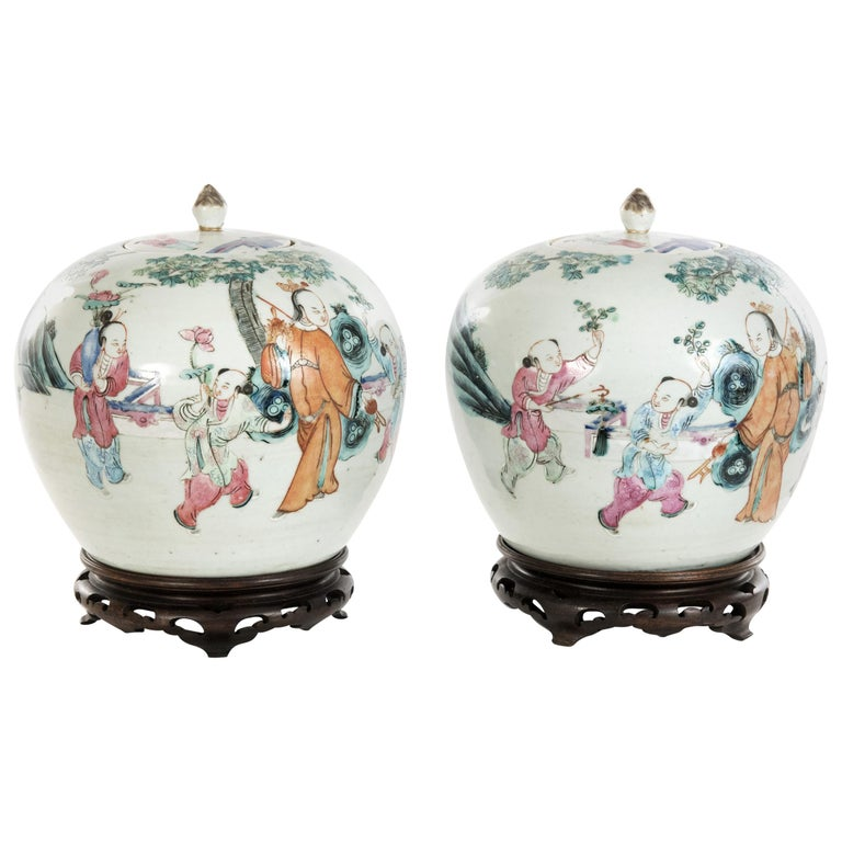 Pair of Chinese Famille Rose Ovoid Ginger Jars