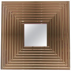 Contemporary Geometric Italian Rose Bronze Murano Glass Gradient Square Mirror