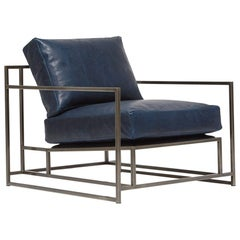 Navy Leather and Antique Nickel Armchair