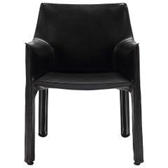 Black Leather Cassina Cab Armchair