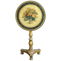 Early 19th Century George IV Giltwood and Painted Tilt-Top Floral Table