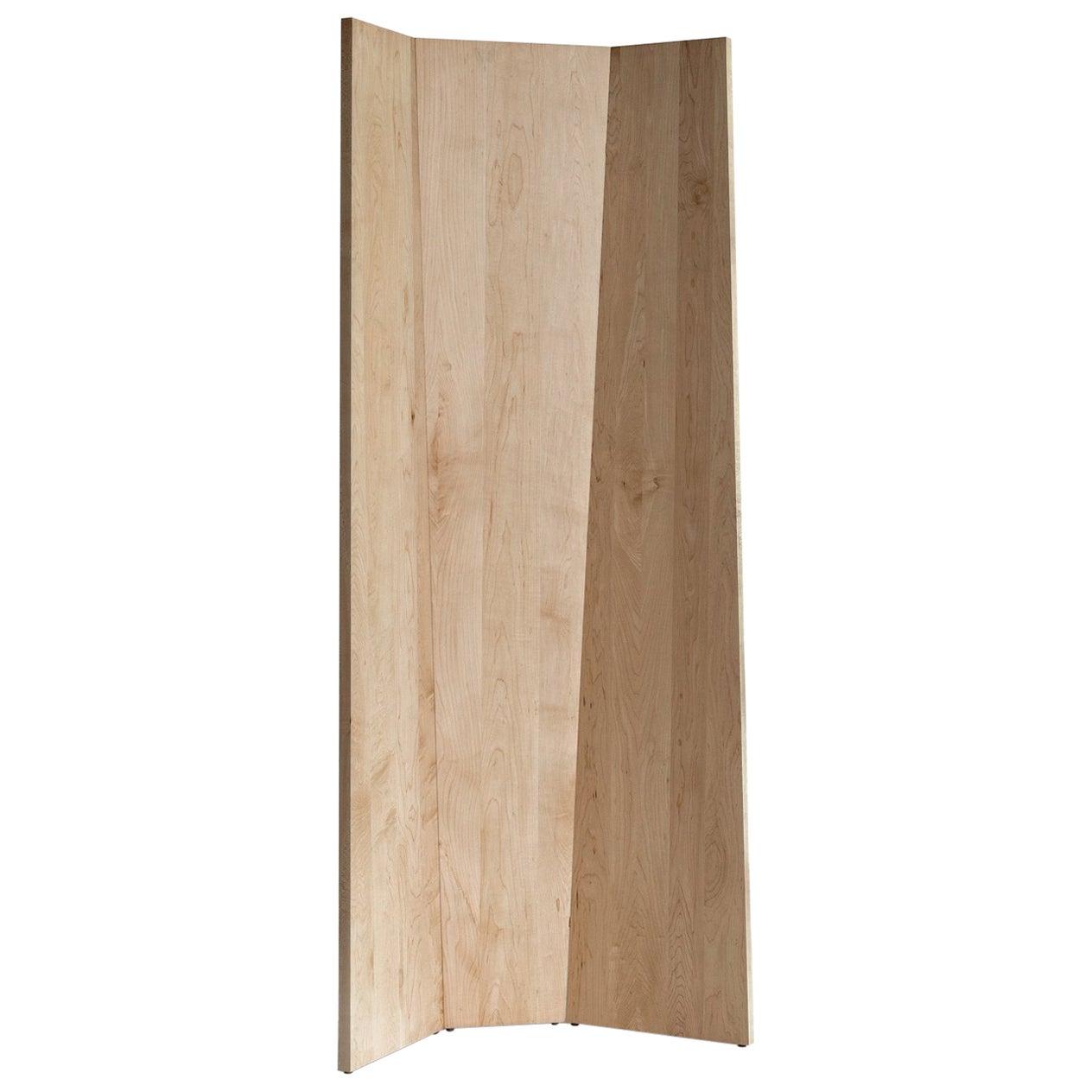 Handmade Tri-Fold Solid Maple Folding Screen or Room Divider