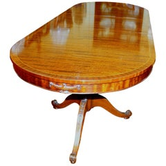 "Old English Figured Fiddle Grain Inlaid Mahogany ""Adam"" Style Dining Table"