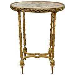 Louis XVI Style French Bronze Marble Top Oval Side Table