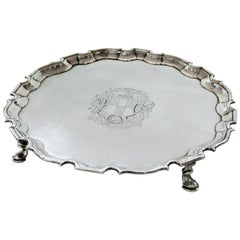 Geo. III Sterling Engraved Armorial Crested Chipp. Style Salver, George Hunter