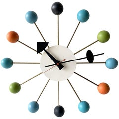 George Nelson for Howard Miller Vintage Modern Multicolor Atomic Ball Wall Clock