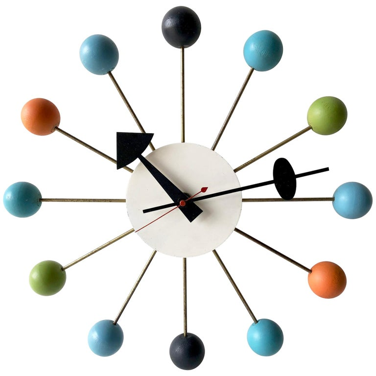 George Nelson for Howard Miller Vintage Modern Multicolor Atomic Ball Wall Clock For Sale