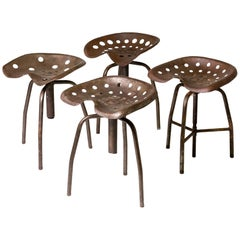 Set of Four Metal Industrial Swivel Stools