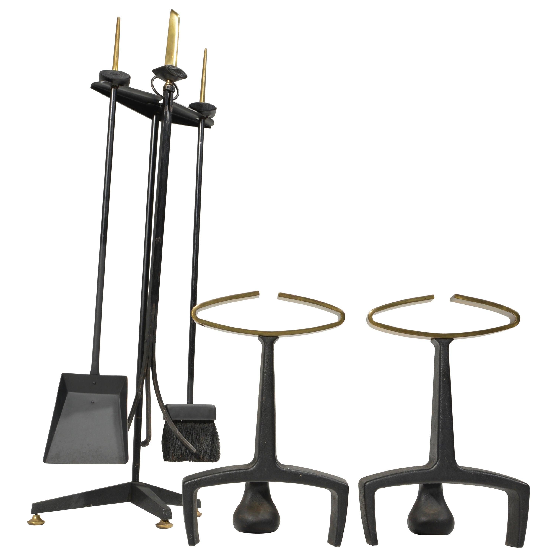 Donald Deskey Fireplace Andirons Tool Set