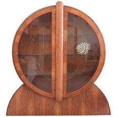 1930s English Art Deco Display Vitrine Cabinet in Walnut