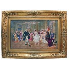 """Very Important KPM Porcelain Painted Plaque, """"The Dance Lesson"""""""