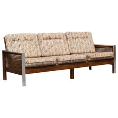 Mid-Century Modern Bassett Sofa Wood Cane and Chrome Baughman Attributed, 1960s