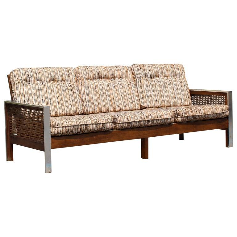 Mid-Century Modern Bassett Sofa Wood Cane and Chrome Baughman Attributed, 1960s