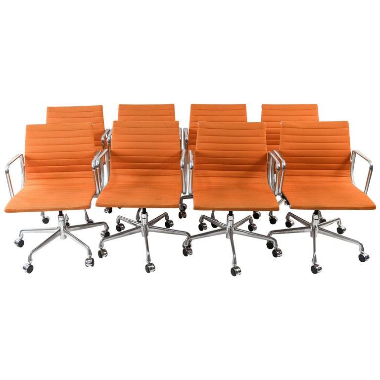 Eight Herman Miller Eames Aluminium Group Management Chairs