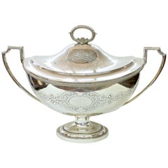 """English Sheffield Silver Plate Hand Engraved """"Adam Style"""" Lg. Soup Tureen"""