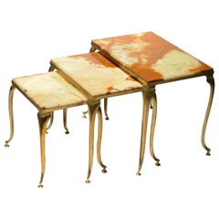 Italian Brass and Marble Nesting Tables