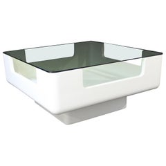 Mid-Century Modern Fiberglass Glass Coffee Table Eero Aarnio Attributed, Finland