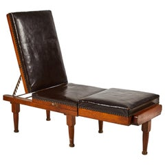 Reclining Chaise or Daybed in Mahogany with Leather Upholstery