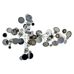 Mid-Century Modern Chrome Raindrops Wall Sculpture Signed Curtis Jere, 1970s