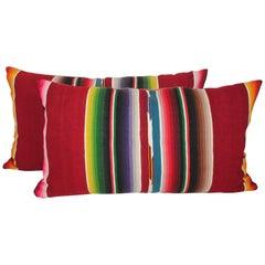 Mexican / American Serape Bolster Pillows, Pair