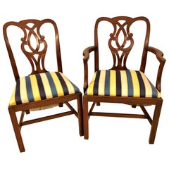 Set of Eight Chippendale Style Baker Pretzel Back Dining Chairs