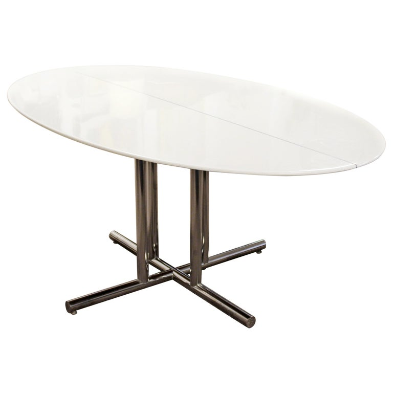 Mid-Century Modern Oval Vitrolite Style Chrome Base Dining Table Saporiti Era