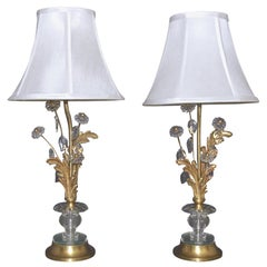 Pair of Baguès French Gilt Bronze Flower Leave Table Lamps