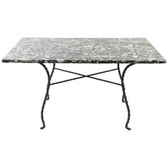 River Stone Slab Top Wrought Iron Table