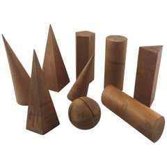 Collection of Mid-20th Century Wooden Geometric Shapes