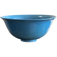 Chinese 'Sky Blue' Glaze Bowl, of Simple Form with Deep Mottled Glaze