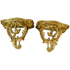 Pair of Very Large Italian 19th Century Giltwood Wall Brackets
